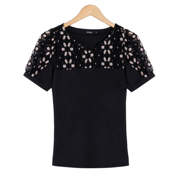 Fashion Women Casual Lace Splice Short Sleeve V-Neck Blouse Tops