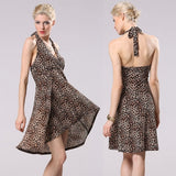 Hot Fashion Lady Women Leopard Dress Sexy V Neck Halter Backless High Waist Irregular Dress