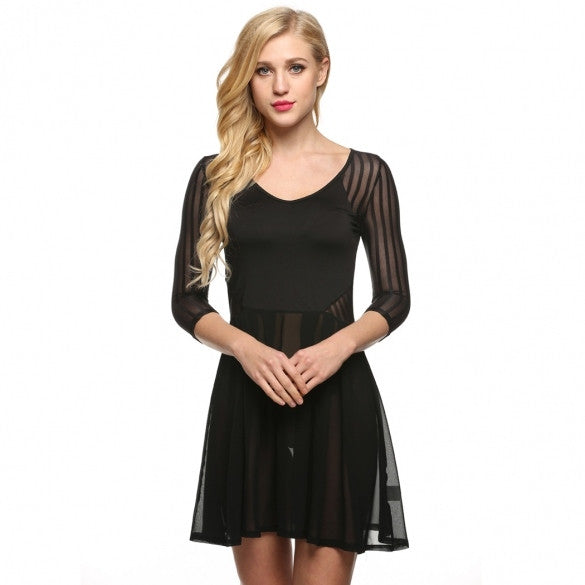 Women Casual V-Neck Long Sleeve Mesh Chiffon Patchwork Dress
