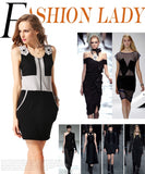 Fashion Ladies Women Sleeveless Sundress Patchwork Front Zipper Package Hip Casual Dress