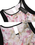 Fashion Ladies Elegant Women Casual O-Neck Sleeveless Floral Print Slim High Waist A-Line Dress