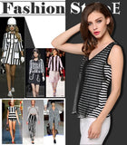 Casual Women Sexy V Neck Chiffon Patchwork Stripped T-shirt Tops