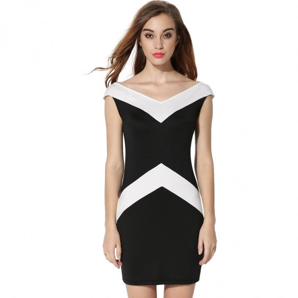 Fashion Women Sleeveless Black White Patchwork V-neck Summer Party Dress