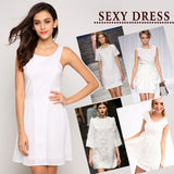 Fashion Women Fashion O Neck Casual Mini Pleated Dress White Sundress