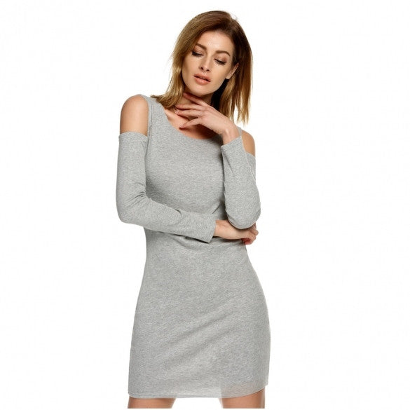 Women Sexy O-Neck Long Sleeve Off Shoulder Solid Bodycon Stretch Mini Dress