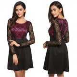 Women Casual O-Neck Long Sleeve Lace Patchwork Dress