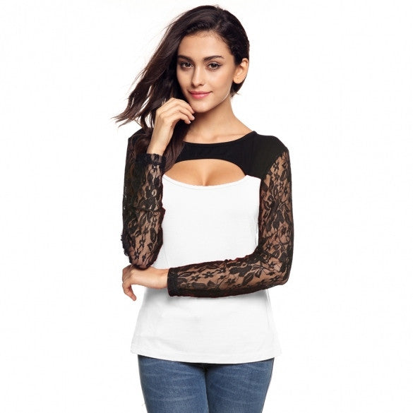 Fashion Women O-Neck Lace Long Sleeve Hollow Patchwork Slim Blouse Tops