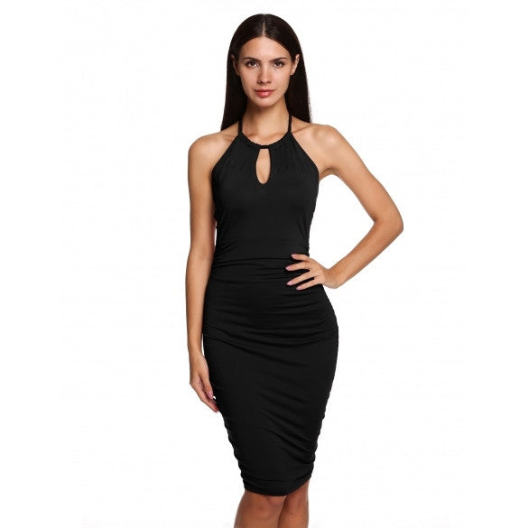Fashion Women Casual Party Sleeveless Halter Sexy Slim Backless Dress