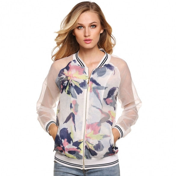 Women Casual V-Neck Patchwork Floral Full Zip Long Sleeve Tops Jacket Coat