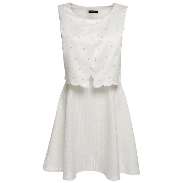 Women Sleeveless Bead Casual Party A-Line Dress