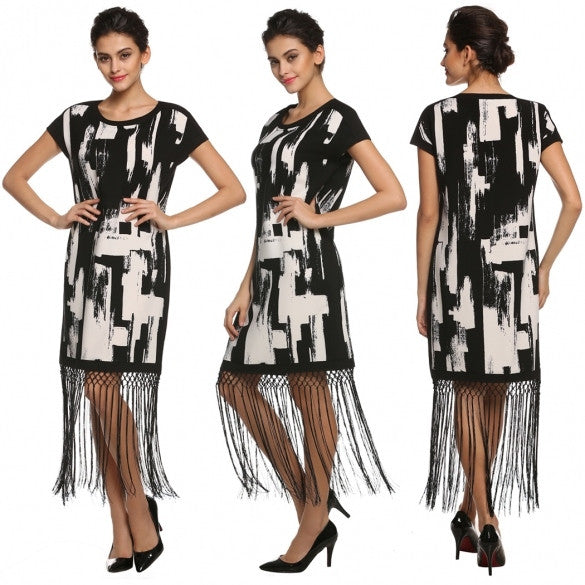 Women O-Neck Print Tassels Hem Casual Party Dress
