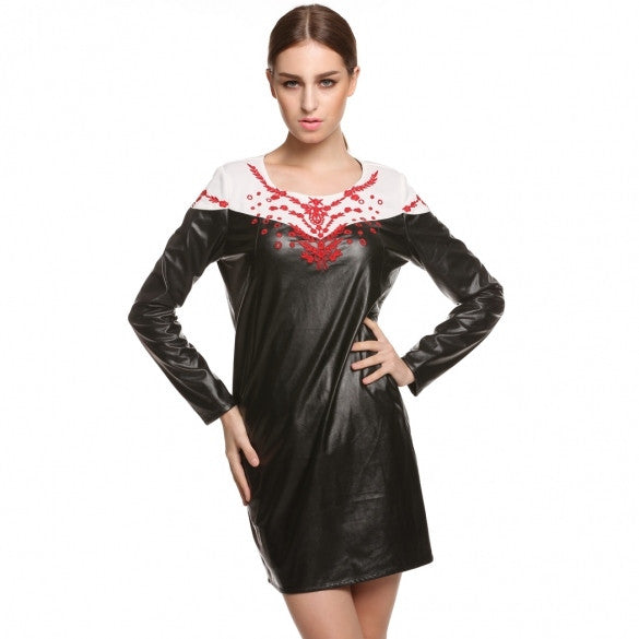 Women Long Sleeve Scoop Neck Synthetic Leather Embroidery Dress