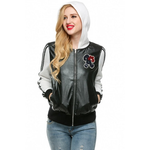 Cool Women Hooded Zip Up Motorcycle Jacket Biker Coat