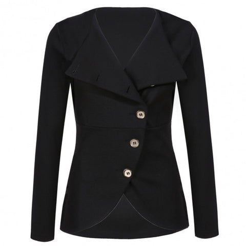 Fashion Women Lady Casual Solid Slim Single-breasted Outerwear Coat Jacket