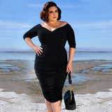 Women Fashion Retro Sexy V Neck Off Shoulder 1/2 Sleeves Solid Stretch Draped Jersey Style Pencil Dress