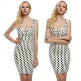 Vintage Style Women Deep V-Neck Sleeveless Polka Dot Slim Fit Bodycon Dress