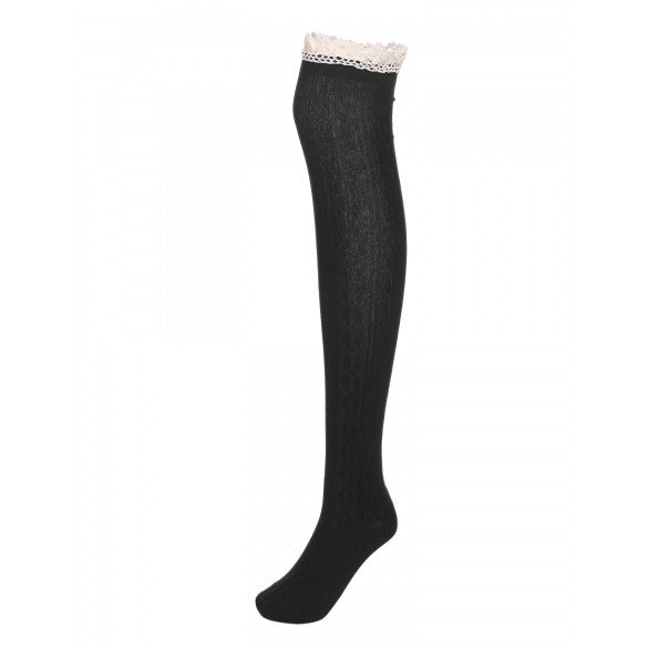f9116efa1e5 Women Fashion Warm Thigh High Socks Ribbed Cable Knit Solid Lace Trimming  Over-knee Socks