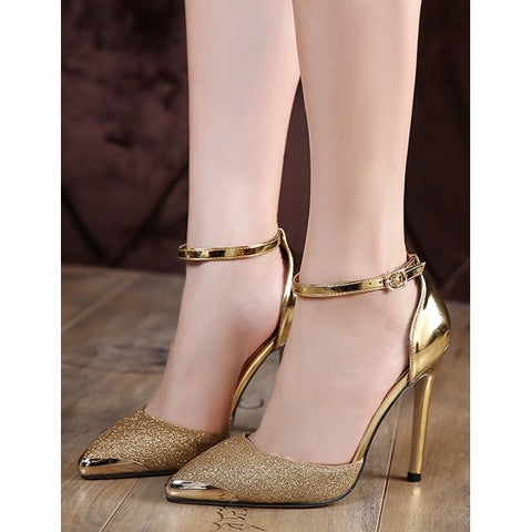 Fashion Glitter Sequin Pointed Toe Stiletto High Heel Pumps