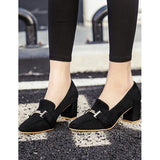 Retro Flock Shoes Mid Heeled Square Toe Elegant Pumps For Women
