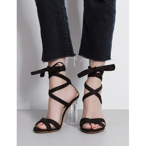 Sexy Roman Straps Crystal Chunky Heel Peep Toe Sandals For Women