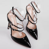 a142eeb0b84 Solid Patent Leather Pointed Toe Stiletto High Heel Ankle-Strap Heels Pumps