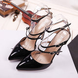 Solid Patent Leather Pointed Toe Stiletto High Heel Ankle-Strap Heels Pumps