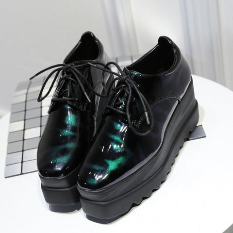 Gradient Color Square Toe Lace Up Patent Leather Flatform Sneakers