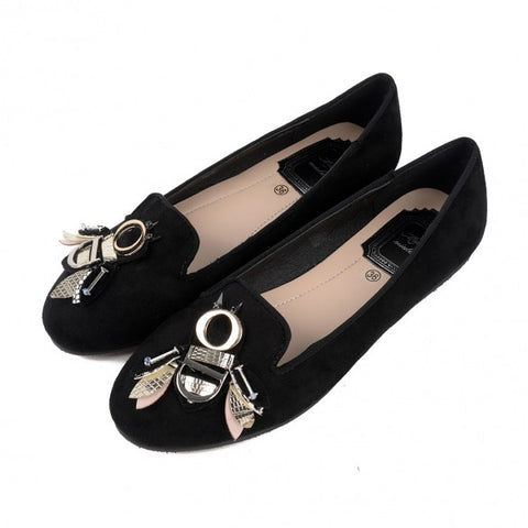Stylish Metal Owl Embellished Round Toe Flock Flats