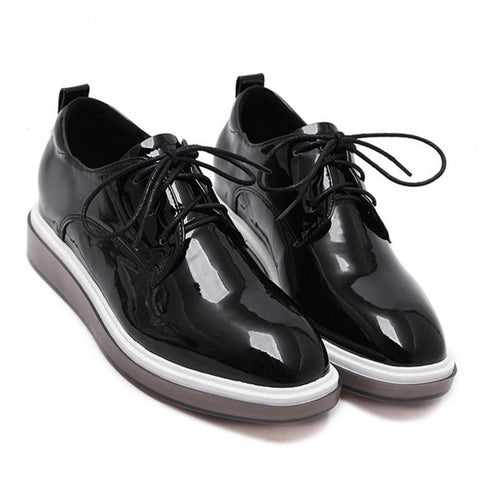 Fashion Mirrored Patent Leather Round Toe Platform Sneakers
