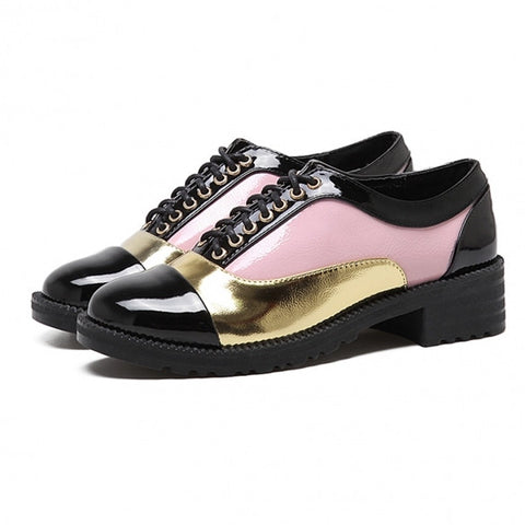 Patchwork Lace Up Round Toe Patent Leather Shoes