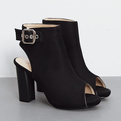 Casual Suede Peep Toe High Heel Chunky Heel Pump