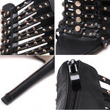 Sexy Women Roman Style Rivet Hollow Out Peep Toe High Heel Sandal