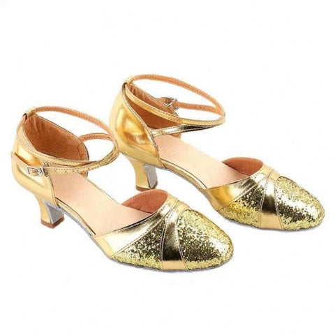 Shimmer Round Toe Ankle Strap Latin Dance Shoes