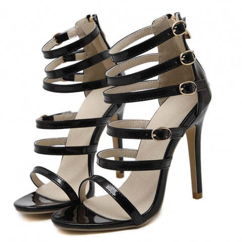 Roman Style Multi-Straps Buckle Peep Toe High Heel Sandals