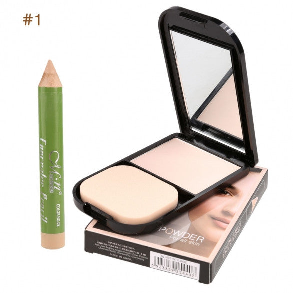 3 Colors Face Pressed Powder Contour Foundation Makeup Cosmetics With Mirror Puff And Concealer Pencil