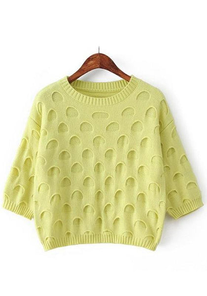 Apple Green Plain Seven's Sleeve Pullover Sweaters