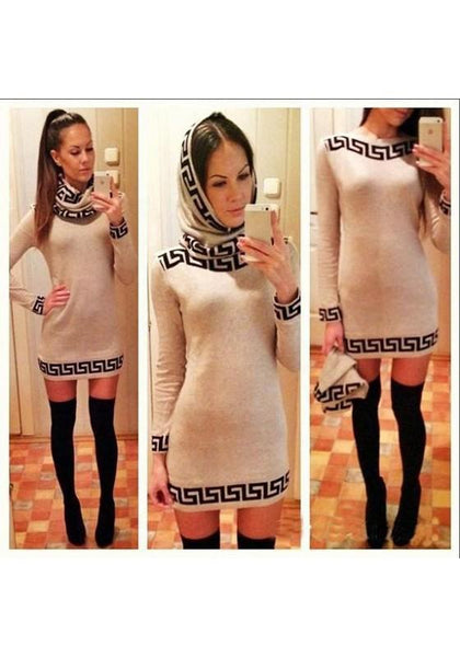 Apricot Geometric Pattern High Neck Fashion Cotton Mini Dress