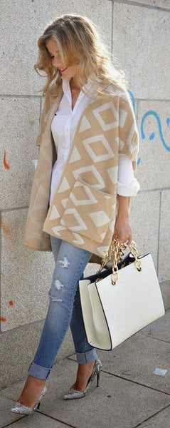 Apricot Geometric Print Pockets Hooded Short Sleeve Knit Fashion Vintage Cardigan Sweater