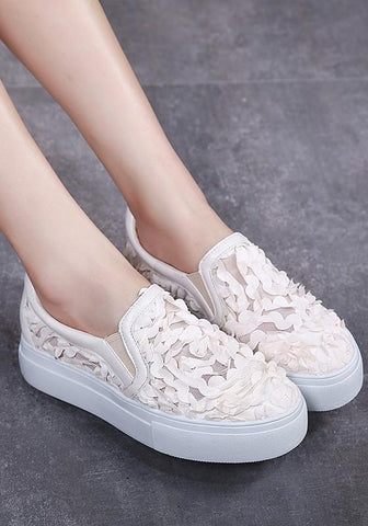 Apricot Heavy-Soled Grenadine Patchwork Casual Shoes