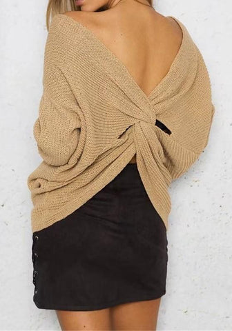 Apricot Irregular Pleated Crop V-neck Long Sleeve Pullover Sweater