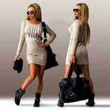 New Women Apricot Monogram Round Neck Long Sleeve Slim Mini Dress