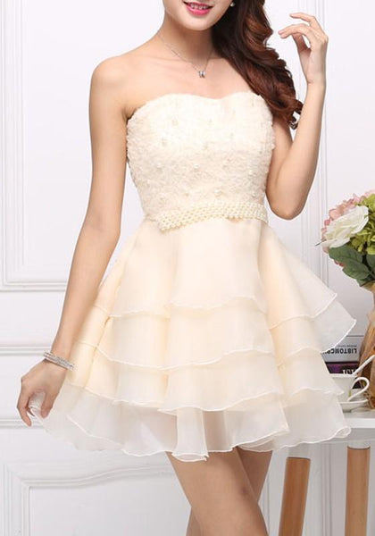 Apricot Patchwork Lace Grenadine Bandeau Sleeveless Tutu Party Mini Dress