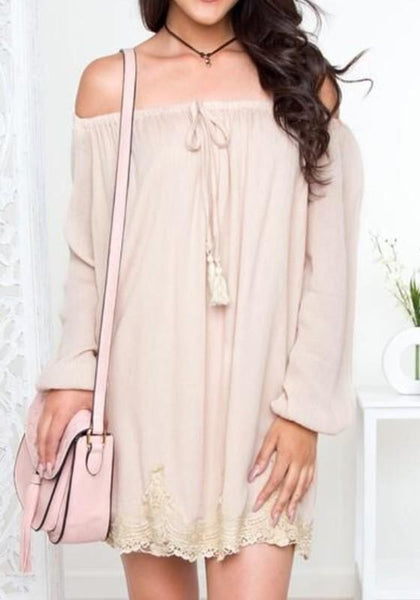 Apricot Patchwork Lace Hollow-out Drawstring Boat Neck Off-shoulder Lantern Sleeve Mini Dress