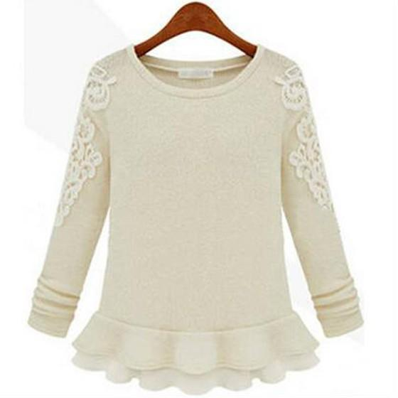 Apricot Patchwork Lace Round Neck Casual Cotton Blend Pullover Sweater