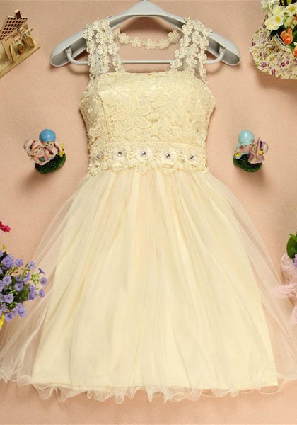 New Women Apricot Patchwork Zipper Lace Beading Double-deck Grenadine Sweet Mini Dress