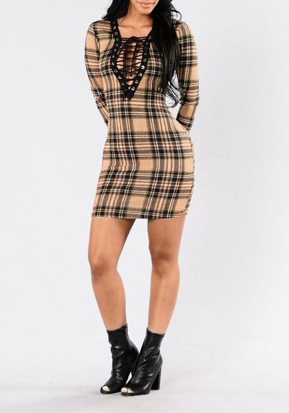 Apricot Plaid Hollow-out Lace-up Plunging Neckline Bodycon Clubwear Mini Dress