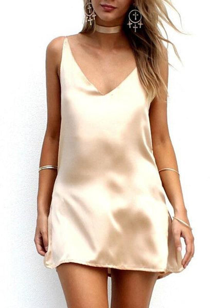 Apricot Plain Condole Belt Plunging Neckline Mini Dress