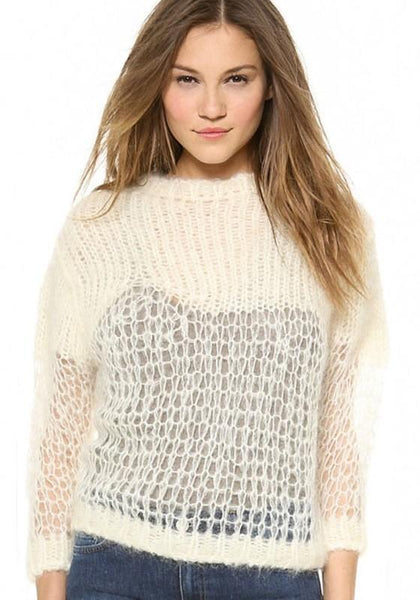 Apricot Plain Hollow-out Round Neck Pullover Sweater