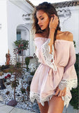 Apricot Plain Lace Bandeau Boat Neck Fashion Mini Dress
