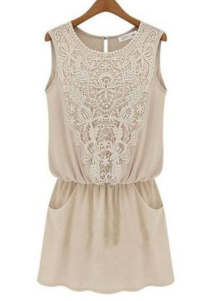Apricot Plain Lace Pockets Sleeveless Dress